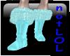 winter boots teal fur