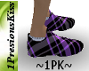 purple blk plaid shoe