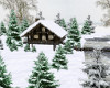 snowy winter cabin