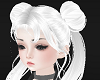 Silver pigtail buns