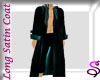 Teal Satin Long Trench