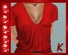 {K} Red V-Neck Tee