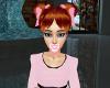 auburn hair + pink bow