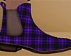 Purple Ankle Boots Plaid