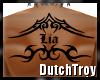Lia tribal back tattoo