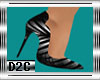 D2C-Blk Striped Heels