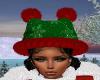Grn Snowflake Kitty Hat