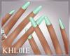 K mint nails dainty hand