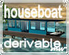 !Houseboat by river bank