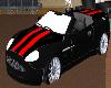 black/red striped car