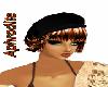Hat black and Hair brown