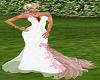 white& pink wedding gown