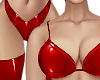 B! Red Bra Latex Panties