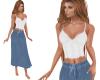 TF White Cami Blue Skirt