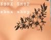 Chest. Flower. Tattoo. E