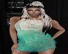 teal lotus dress