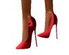 Red Silk Spike Heels
