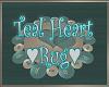 Teal Heart Rug
