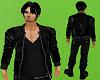 Male black leather coat