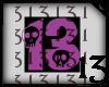 13 Skull Purple Lght BkB