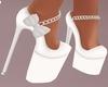 White Sparkle Bow Heels
