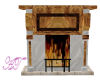 Timber/marble fireplace