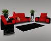A~Sexy Red/Blck Sofa Set