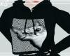 Black Cat Crop Hoodie