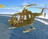 Flying Gold Helicopter
