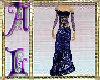 Gown Blue Satin Lace