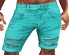 Teal Ripped Shorts M