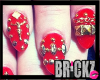 -B- Red Studded