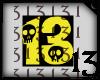 13 Skull Yellow Black BG
