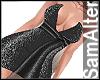 BLACK SHINNY MINI DRESS