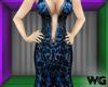 Silver Foil Gown Blue