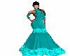 (goto) teal flowerd gown