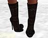 Fur Black Glitter Boots