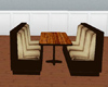 Brown bench and table