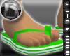 -R- Green & Wht Sandals