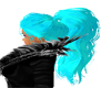 Turquoise pony tail