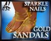 GOLD SANDALS GLIT POLISH