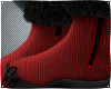 Red Wool Fur Boots