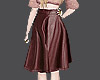(MD)Brown Leather Skirt*