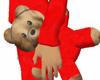 Teddy in Red Silk PJ's