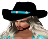 Black/Teal Cowboy Hat
