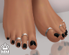 Black Pedicure + Rings