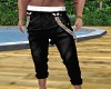 Rolled Black Pants -M-