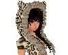 leopard hat w/hair