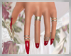 Glossy Red Nails + Rings