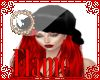 black xmas hat red hair